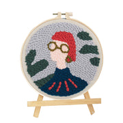 The Girl with Short Hair  DIY Rug Hooking Punch Needle HandCraft - idiypaint