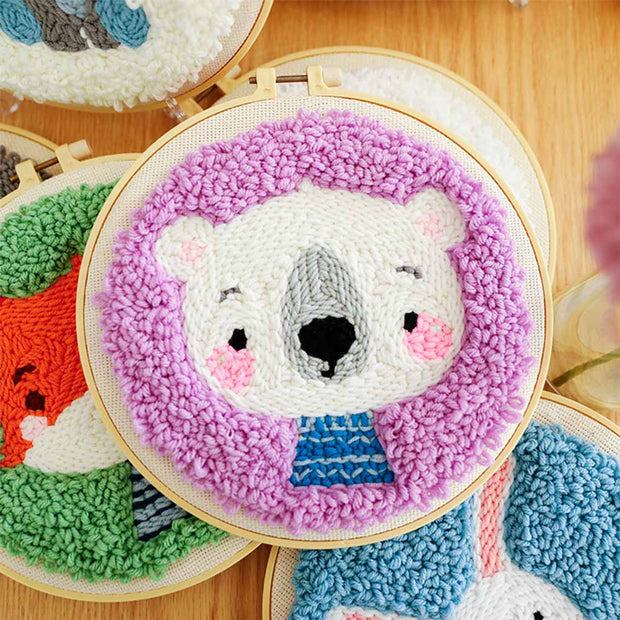 DIY Punch Needle Kit Handcraft Creative Gift with Embroidery Frame -Bear