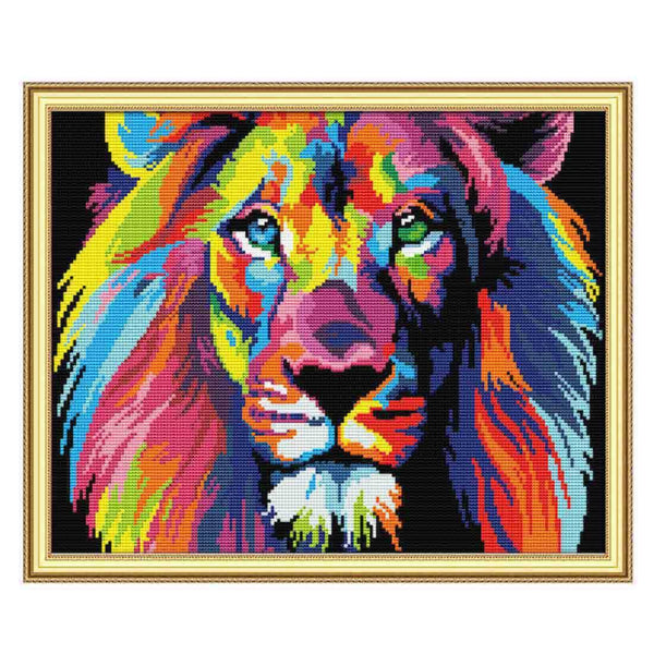 Colored Lion-  DIY Cross Stitch Kits - idiypaint