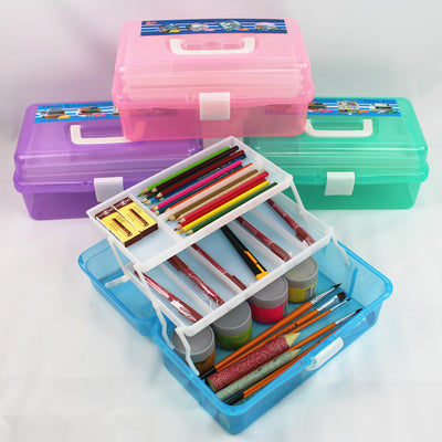 Multifunctional Three Layers Storage Box Tool Plastic Art Craft Supply Case Pencil Container Case with Lift-Out Tray - idiypaint