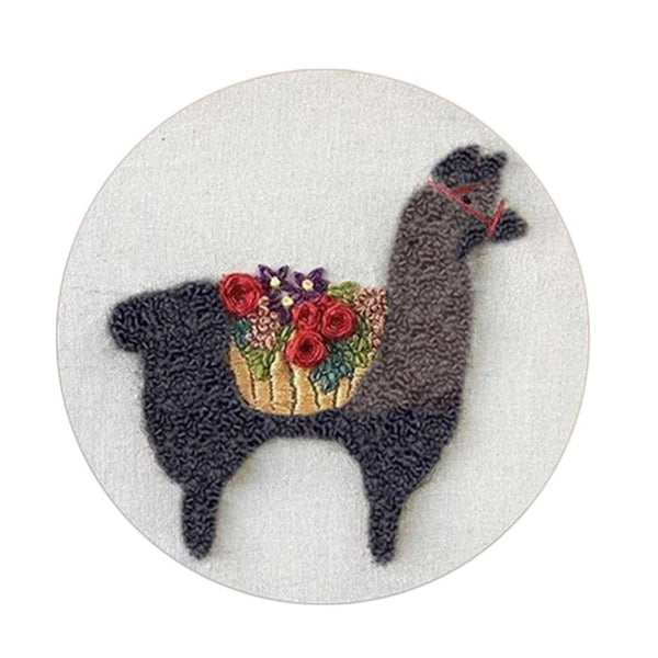 DIY Punch Needle Rug Hooking Kit Knitting Wool WIth 15 x 15cm Embroidery Frame Punch Needle -Cute Alpaca