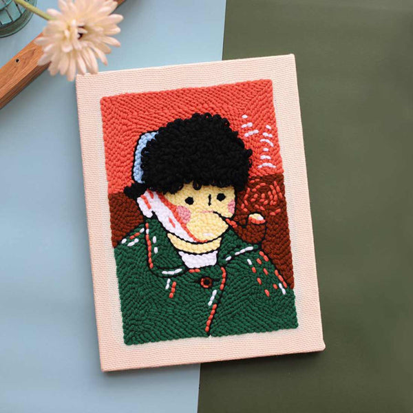 DIY Punch Needle Rug Hooking Kit Knitting Wool with Scissor A-frame Wooden Frame -Vincent Van Gogh