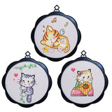 3pcs 17 x 17cm 11CT 3 Strands Printing Embroidering DIY Cross Stitch Kits with Frame - Cat - idiypaint