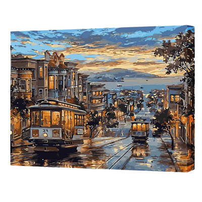 Dusk Street View-40*50cm DIY Paint by Numbers Kits - idiypaint