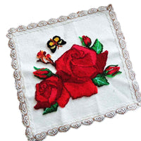 DIY Punch Needle Rug Hooking Kit Knitting Wool Small Cover Towel- Red Rose