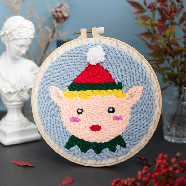 DIY Knitting Wool Rug Hooking Kit Handcraft Woolen Embroidery Creative Gift with 20cm Embroidery Frame Poke Needle - Christmas Boy