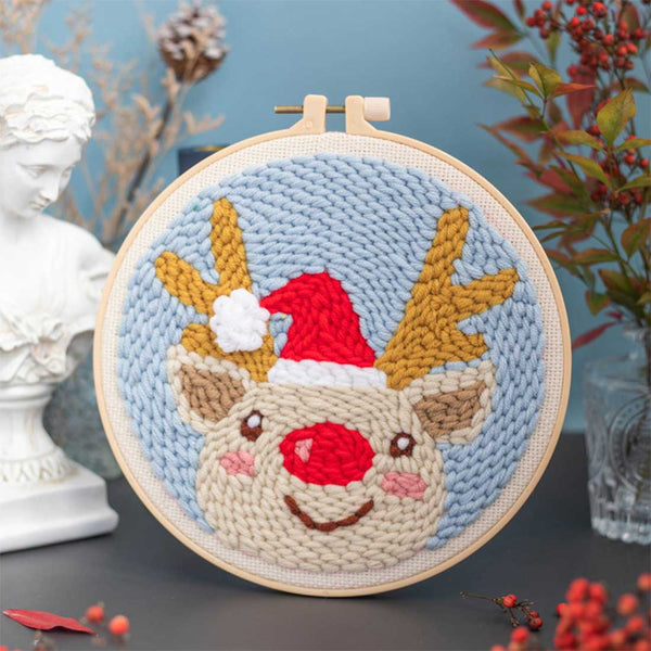 DIY Knitting Wool Rug Hooking Kit Handcraft Woolen Embroidery Creative Gift with 20cm Embroidery Frame Poke Needle - Fawn