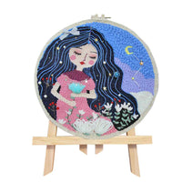 DIY Knitting Wool Rug Hooking Kit Handcraft Woolen Embroidery Creative Gift with 30cm Embroidery Frame Poke Needle Tripod Stand - Sleeping Beauty