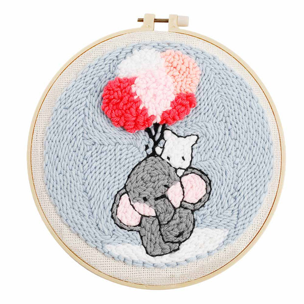 DIY Punch Needle Kit Handcraft Creative Gift with Embroidery Frame -Elephant with Balloons