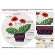 15 x 15cm DIY Counted Cross Stitch Embroidery Starter Kit with Hoop -  Bright Red - idiypaint
