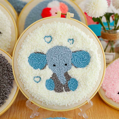 DIY Punch Needle Kit Handcraft Creative Gift with Embroidery Frame -Rainbow Elephant