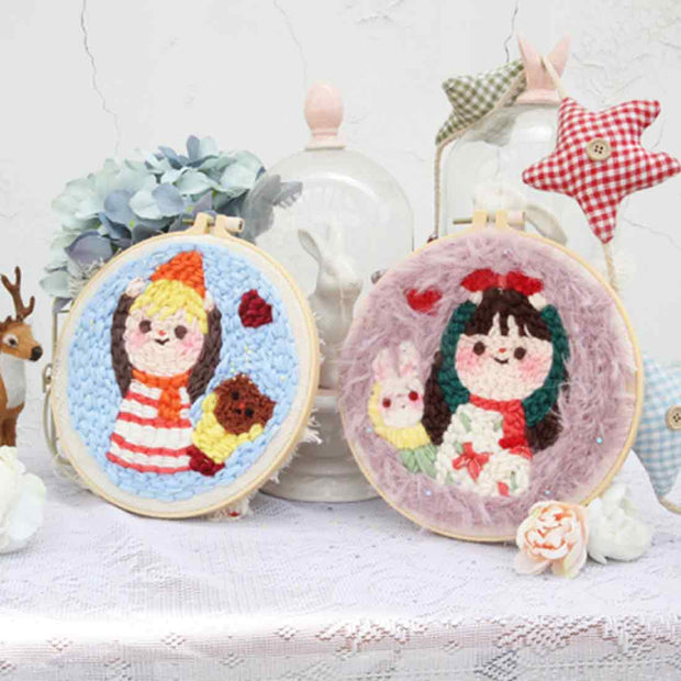 DIY Knitting Wool Rug Hooking Kit Handcraft Woolen Embroidery Creative Gift with 20cm Embroidery Frame Poke Needle Tripod Stand