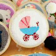 DIY Punch Needle Kit Handcraft Creative Gift with Embroidery Frame - Baby Carriage