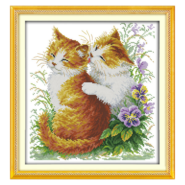Two Cats Kiss- DIY Cross Stitch Kits - idiypaint