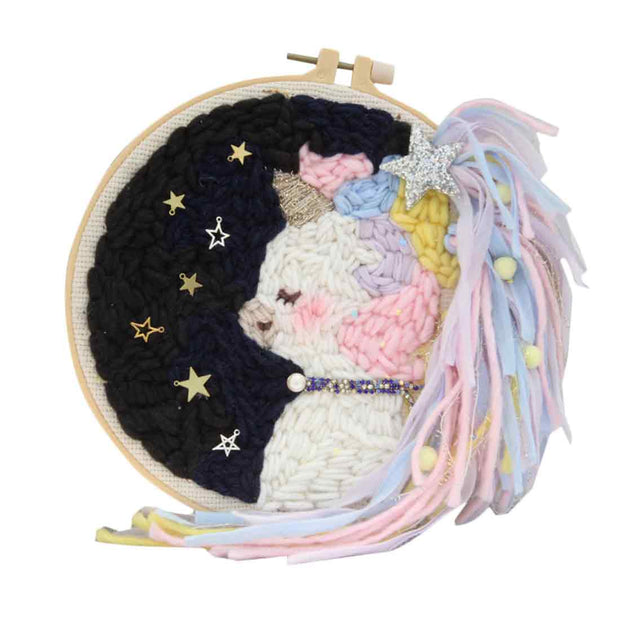DIY Knitting Wool Rug Hooking Kit Handcraft Woolen Embroidery Creative Gift with 20cm Embroidery Frame Poke Needle Tripod Stand - Unicorn