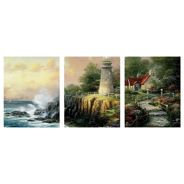 3Pcs set Seaside Watch Tower-40 x 50cm DIY Painting by Numbers Sets For Adults Beginner - idiypaint