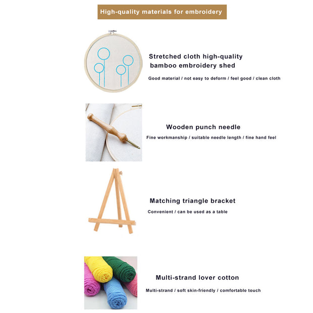 DIY Punch Needle Kit Handcraft Woolen Embroidery Creative Gift with 21cm Frame  -  Lion