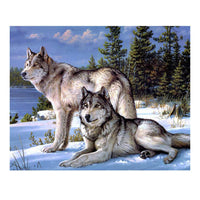 Two Snow Wolf- DIY 5D Diamond Painting - idiypaint