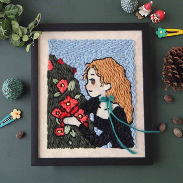 DIY Punch Needle Rug Hooking Kit Knitting Wool with Scissor A-frame Wooden Frame - omantic Season - idiypaint