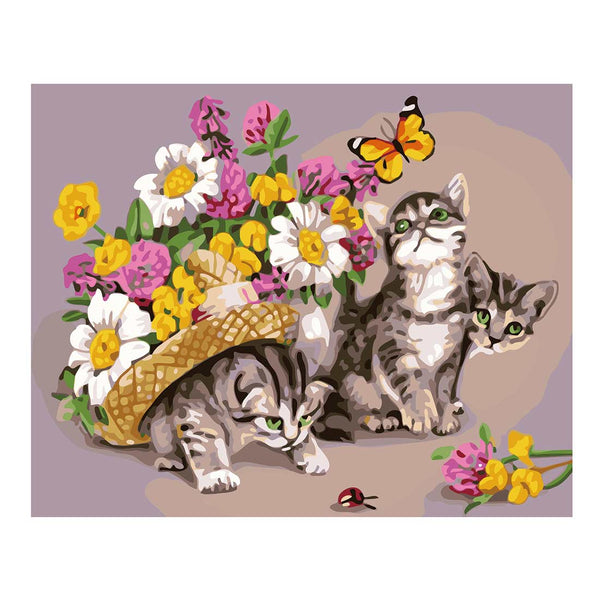 Kitten and Flowers-40*50cm DIY Paint by Numbers Kits - idiypaint