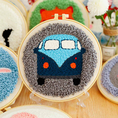 DIY Punch Needle Kit Handcraft Creative Gift with Embroidery Frame -Car