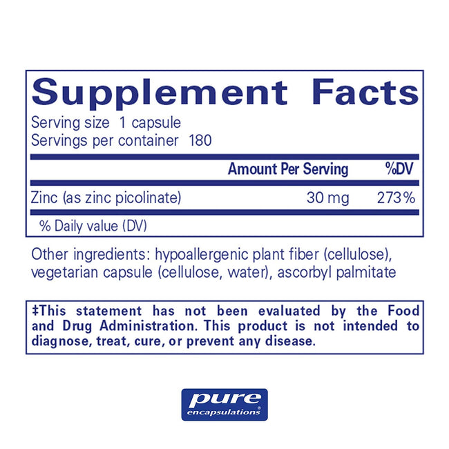 Pure Encapsulations Zinc 30 - 180 Capsules