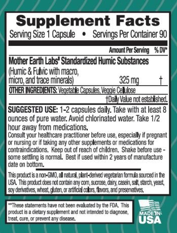 Mother Earth Labs The Gift Fulvic and Humic Concentrate Capsules