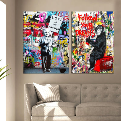 2 Piece Framed Graffiti Art Bundle - Follow Your Dreams - Canvas Insider™️