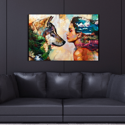 Wolf And Female Canvas Wall Art