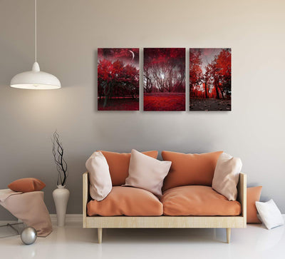 3 Piece Framed Red Trees Canvas Wall Art - Canvas Insider™️