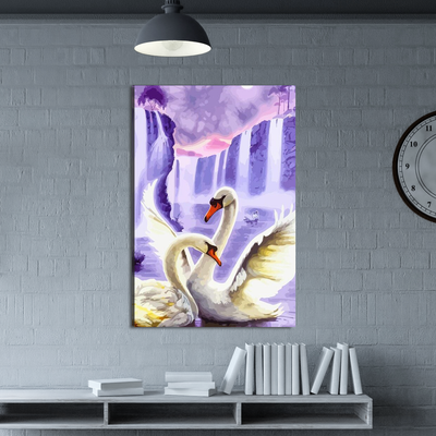 Mute Swan Couple Canvas Wall Art