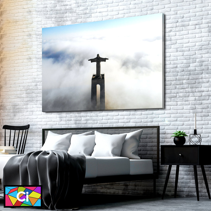 Ancient Jesus Mist In The Clouds Canvas Wall Art - Canvas Insider™️