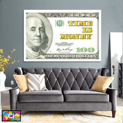 Benjamins Hundred Dollar Bill TIME IS MONEY Success Wall Art - Canvas Insider™️