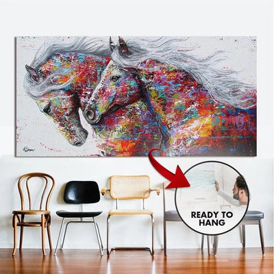 **Best Seller** Running Horses Framed Canvas Painting Wall Art - Canvas Insider