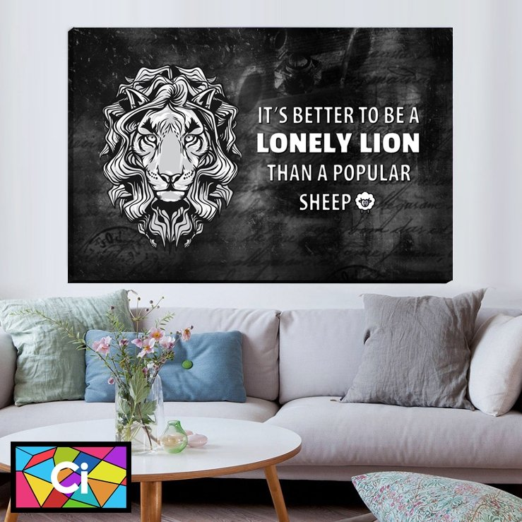 Better a Lonely Lion Than a Popular Sheep Canvas Wall Art - Canvas Insider™️