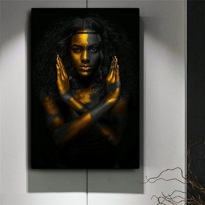 Black and Gold African Woman Oil Painting Wall Art On Canvas - Canvas Insider™️