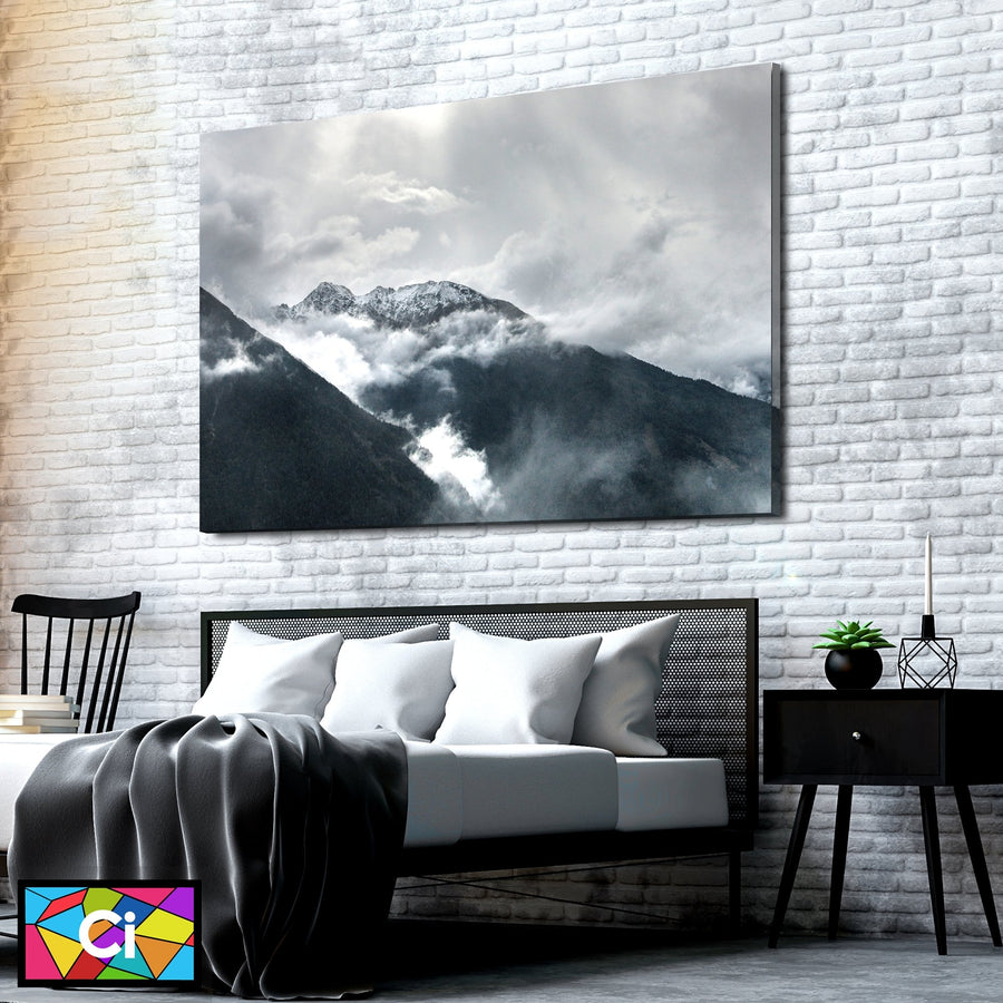 Black & White Cloudy Mountains Canvas Wall Art - Canvas Insider™️