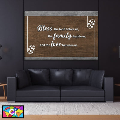 Bless The Food Before Us Love Canvas Wall Art - Canvas Insider™️