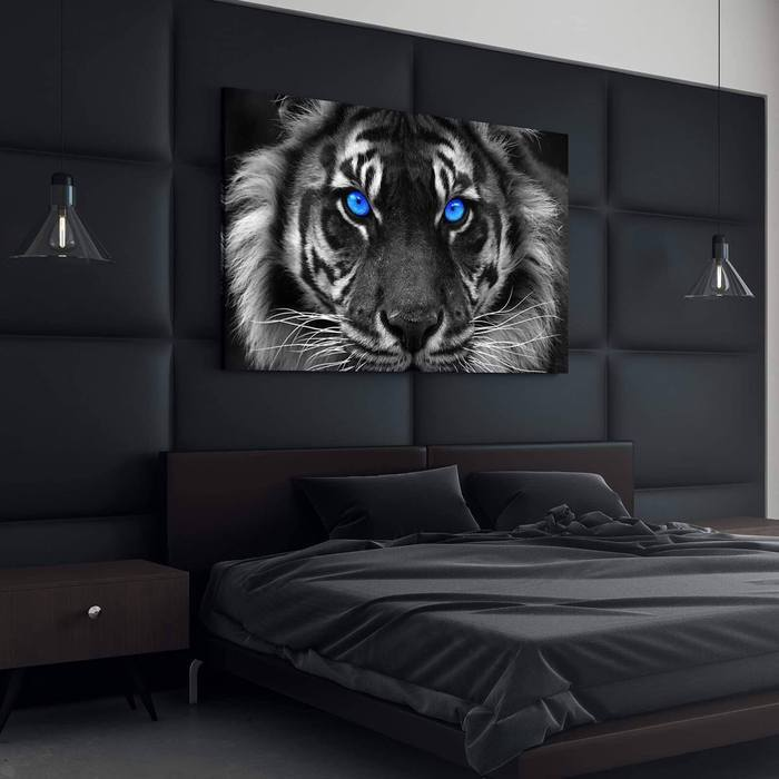 Blue Eyed Tiger Canvas Wall Art - Canvas Insider™️