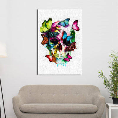 Butterfly Skull Canvas Wall Art - Canvas Insider™️