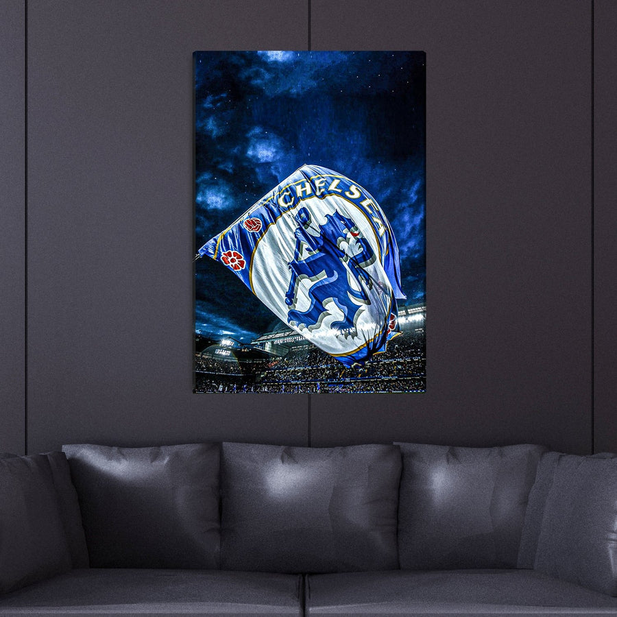 Chelsea Fans & Stars Vertical Canvas Wall Art - Canvas Insider
