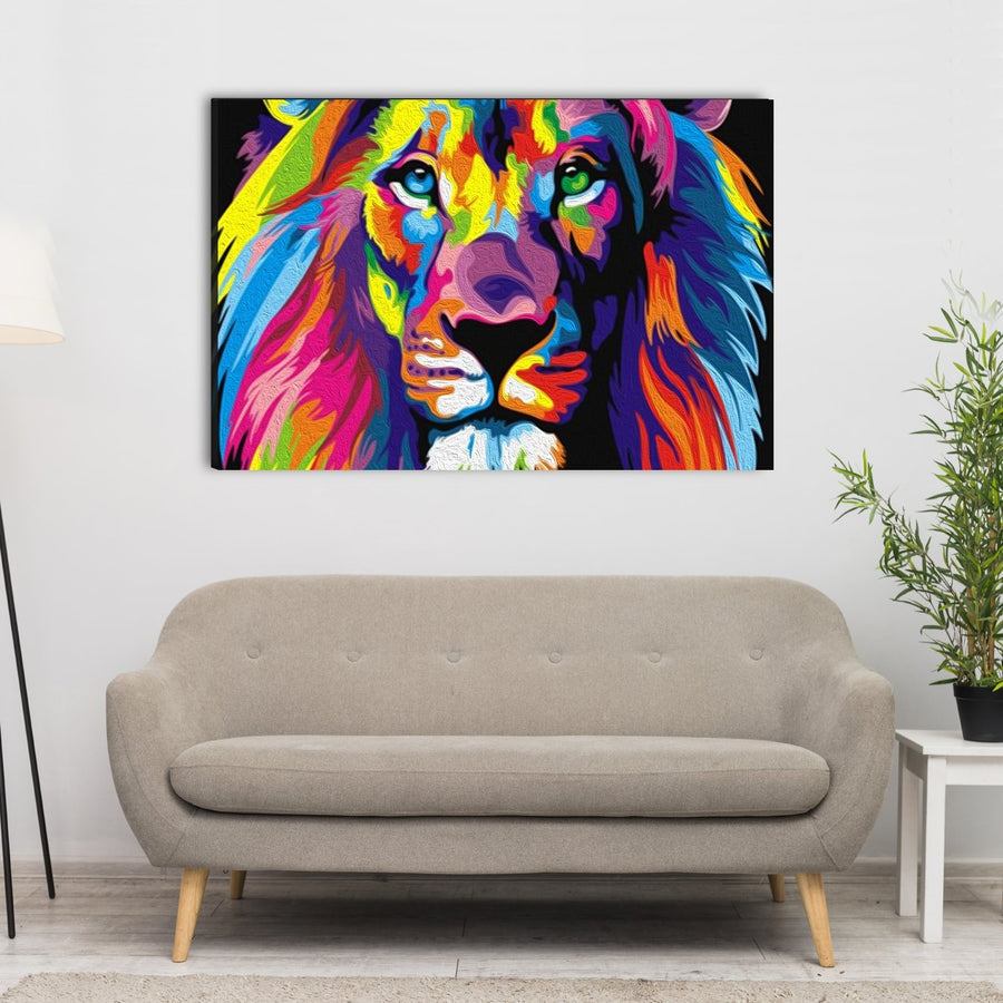 Colorful Lion Canvas Wall Art - Canvas Insider™️