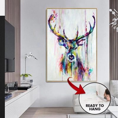 Colourful Deer Canvas Wall Art - Canvas Insider