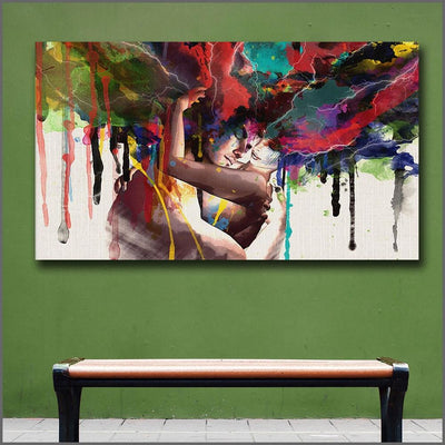Colourful Magnetic Soulmates Hug Canvas Wall Art Painting - Canvas Insider™️
