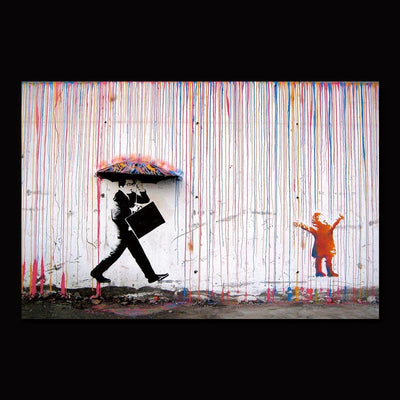 Colourful Rain Graffiti Canvas Wall Art - Canvas Insider