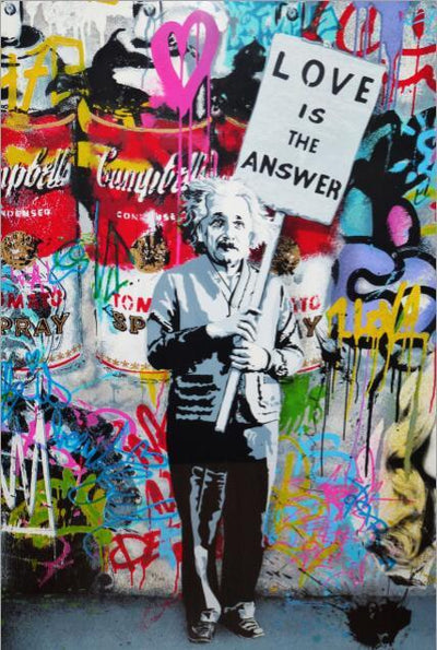 Einsteins love is the answer Grafitti Wall Art on Wrapped Wood Canvas - Canvas Insider™️