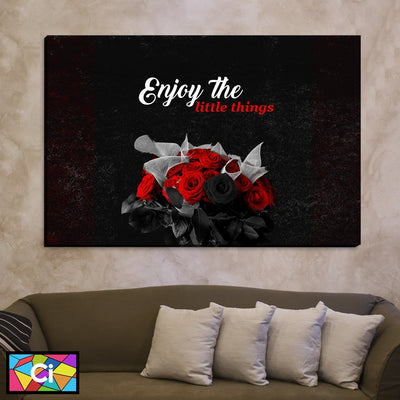 Enjoy The Little Things Red & Black Roses Canvas Wall Art - Canvas Insider™️