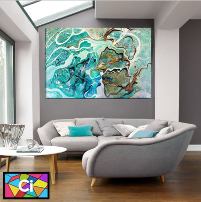 Face of a Man & Woman Abstract Canvas Wall Art - Canvas Insider™️