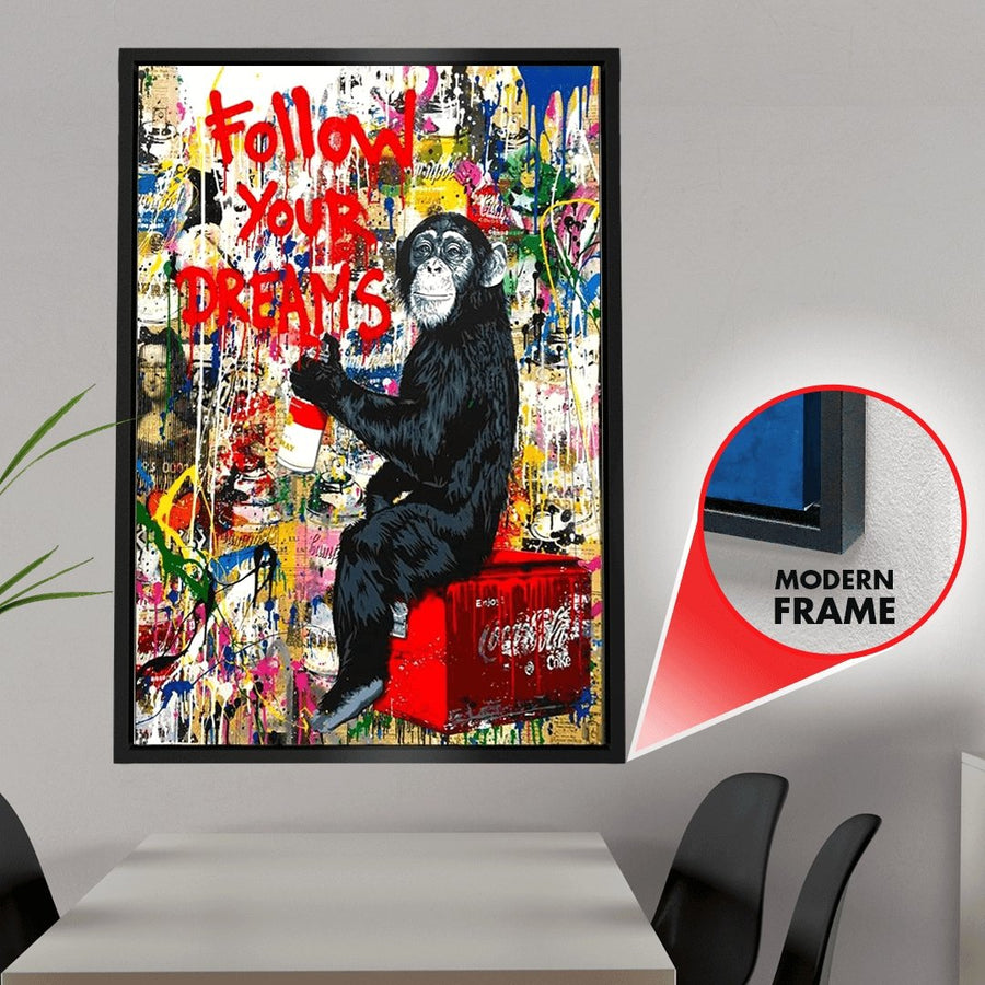 Follow Your Dreams Street Graffiti Canvas Wall Art - Canvas Insider™️