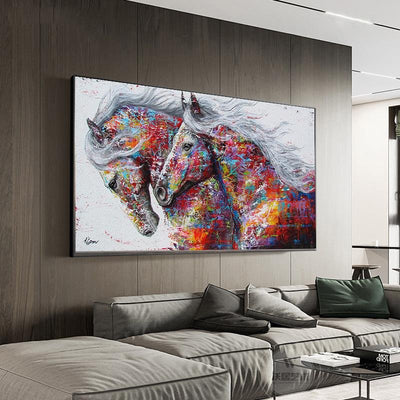 Graffiti Art Running Horses Framed Canvas Painting - Canvas Insider™️